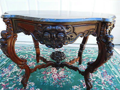 Superior Victorian Rococo Rosewood Alexander Roux Black Marble Top Center Table