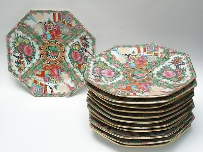 """LOT of 12 ANTIQUE LATE 19 c. QING ROSE MEDALLION OCTAGONAL DINNER PLATE ~ 9.5"""""""