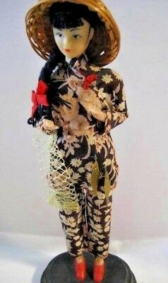 """Vtg- 10.5""""  Asian Doll - Girl w/Fish/Net - Wicker Hat over Braid - Floral Outfit"""