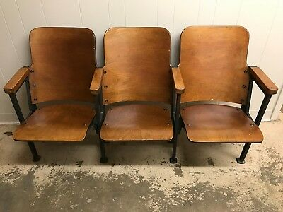 3 VTG Art Deco Wood Theater Seats Wood Bench On Metal Frame Amazing Condition