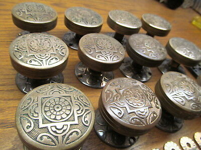 Large Lot 12 Brass ? Bronze ? Knobs ..rosettes...keyhole Escutcheons..backplates