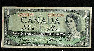 1954 Bank of Canada Devil's Face $1 Note - L/A - Very Fine Note