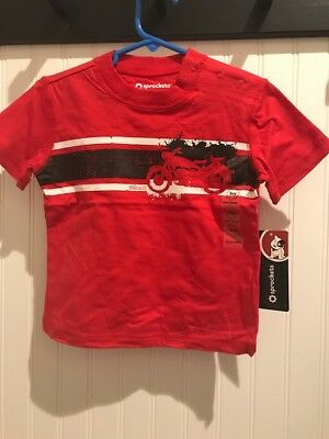 New 2T 24 Month Toddler Boy Red Motorcycle Short Sleeve Tee Shirt FREE Shipping!