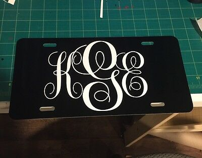 personalized monogrammed license plate car tag initials custom new