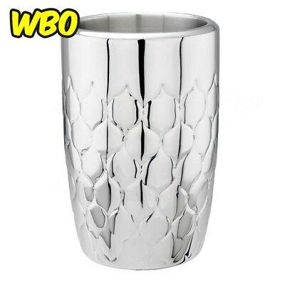 Wine Chiller Double Walled Embossed Silver Stainless Steel Bar Ice Bucket Tool