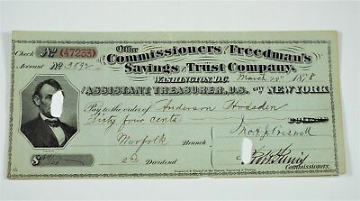 1878 Freedman's Savings & Trust Bank Check - Washington DC & Asst Treasurer NY