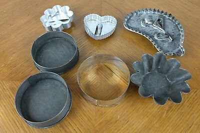 VTG Lot of 7 Primitive Cookie Cutters Metal Tin Leaf Baking Kitchen Aluminium