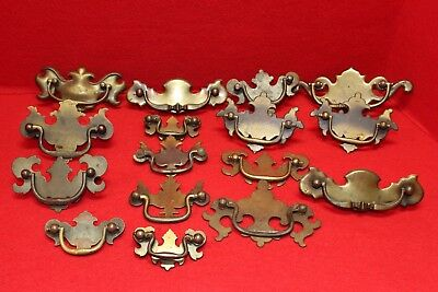 Lot of 16 Vintage Antique Brass Chippendale Style Drawer Pulls
