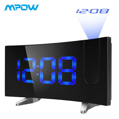 """Mpow Projection Alarm Clock Arc-shaped LCD Digital LED Projector 5"""" Large Screen"""