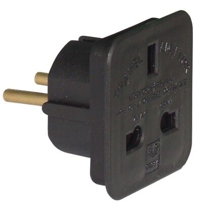 BLACK UK To EU Euro Europe European Approved Travel Adaptor Plug - 2 Pin Adaptor