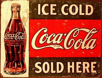 """Tin Sign Coke 1916 Ice Cold 16"""" x 13"""" Sold Here Classic Tin Sign High Quality"""