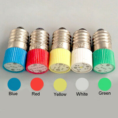 E10 LED Instrument Warning Screw Light Bulb 0.5W 6.3V 12V 24V 110V 220V 380V