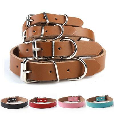 Soft Genuine Cow Leather Adjustable Pet Dog Cat Puppy Collar Neck Buckle S M L