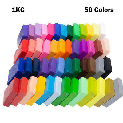 50 Colors Soft Polymer Clay Plasticine Blocks Fimo Modeling Moulding DIY Toy 1kg