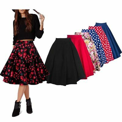 Vintage Women Stretch High Waist Flared Pleated Swing Skirt Evening Party Dress