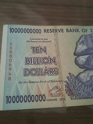 TEN BILLION ZIMABWE DOLLARS     .......!  Free post