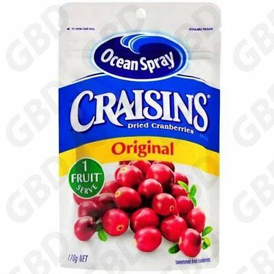 6x OCEAN SPRAY CRAISINS ORIGINAL DIRED CRANBERRIES 170GM