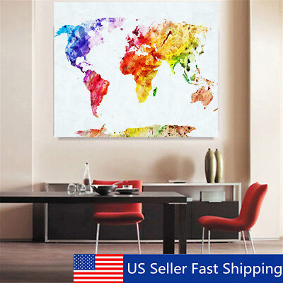 50x35cm Retro World Map Art Canvas Print Wall Painting Picture Mural Home Decor
