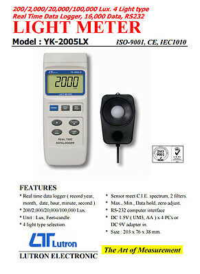 Lutron YK-2005LX Lux Light Meter Real Time Data Logger 4 Lighting Type RS-232