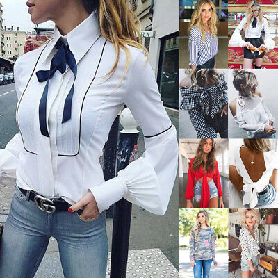 Fashion Womens Loose Pullover T Shirt Long Sleeve Cotton Tops Shirt Lady Blouse