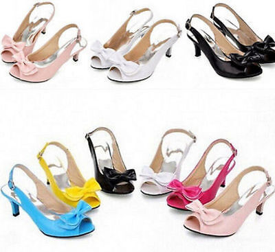 5718b76d416 Women s Kitten Heel Shoes Peep Toe Patent BowKnot Slingbacks Sandals All US  Size