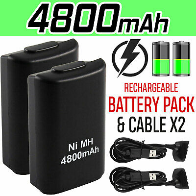 1/2x 4800mAh Rechargeable Battery USB Charger Cable Pack for Xbox360 Controller