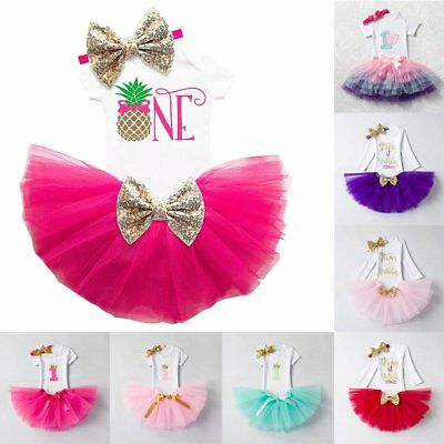 Baby Girls Infant Headband Romper Princess Tutu Skirt Dress 1st Birthday Outfits