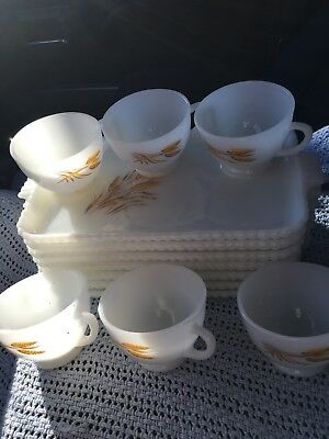Fireking Wheat Pattern Snack Plates With Cups