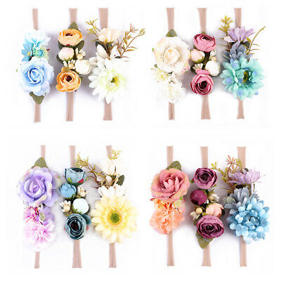 BL_ 3Pcs Boho Fake Flower Headband Baby Girl Wreath Newborn Hair Accessories Nov