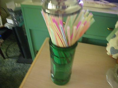 Green Glass Straw Holder VintageLooking with Straws!~11 Inches High