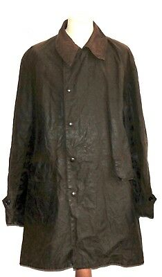 Superb Vintage Barbour Three Quarter Wax Waterproof Coat C 50'' Green Two Crest