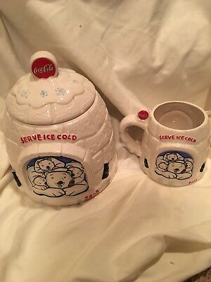 Coca Cola Igloo Cookie Jar And Drinking Mug
