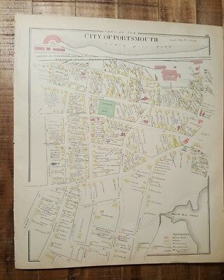 Antique MAP - PART 2 OF THE CITY OF PORTSMOUTH - N.HAMPSHIRE - 1892 ATLAS