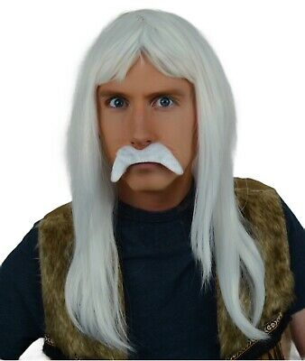 White Long Fancy Dress Wig & Droop Moustache. Pirate, Hippie, 70'S, Wizard, Old