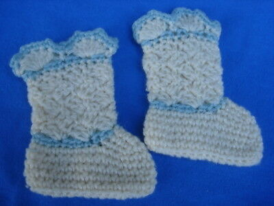 Vintage 1930's White & Blue Crochet Knitted Baby Booties