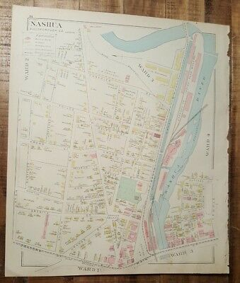 Antique MAP - MAP 3 OF NASHUA - HILLSBOROUGH COUNTY - NEW HAMPSHIRE - 1892 ATLAS