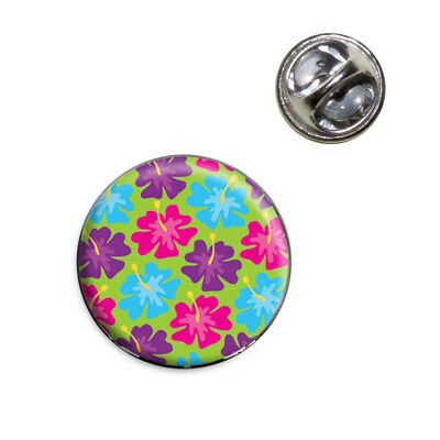 Tropical Flower Hibiscus Pattern Green Lapel Hat Tie Pin Tack