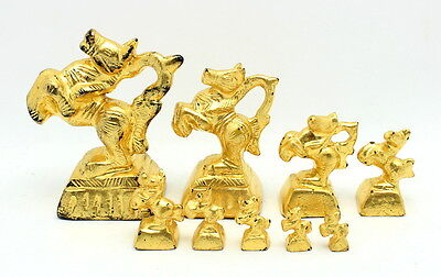 Fine Antique Gold Lacquered Bronze Burmese Opium Weight Set