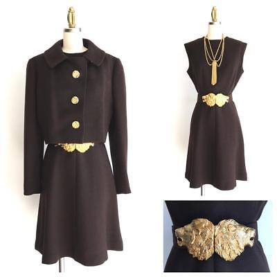 Rare Vintage 1970's Harve Bernard Mad Men Chocolate Brown Womens Dress Suit Sz 8