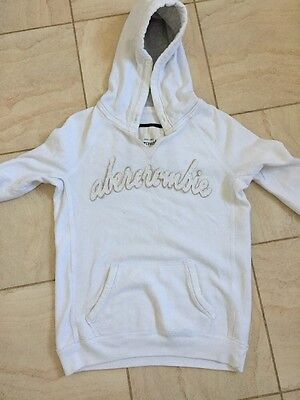 Abercrombie and Fitch Hoodie White Kids XL VGC 9-12 Yrs UNISEX