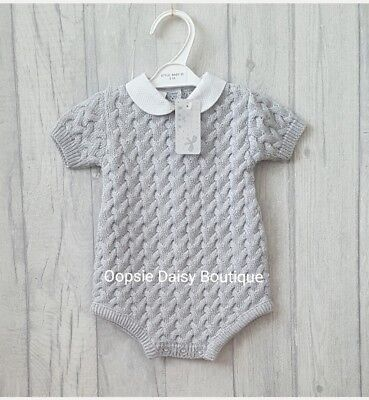 Babys Gorgeous Grey Spanish Romper Suits with Peter Pan Collar - Supersoft Knit
