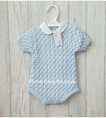 Babys Gorgeous Blue Spanish Romper Suits with Peter Pan Collar - Supersoft Knit