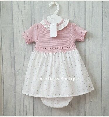 Babys Girls Gorgeous Spanish Frill Collar Knitted Dress & Matching Bloomers