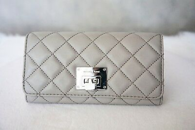 33422a4e4880a7 NEW Authentic MICHAEL KORS Astrid Pearl Grey Quilted Leather Clutch Wallet