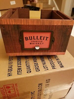 Bulleit Bourbon Frontier Whiskey Wood Napkin & Straw Holder Tray Caddy