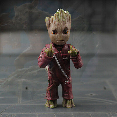 Middle Finger Groot Guardians of the Galaxy 2 Key Chain Ring Porte-cles Figurine