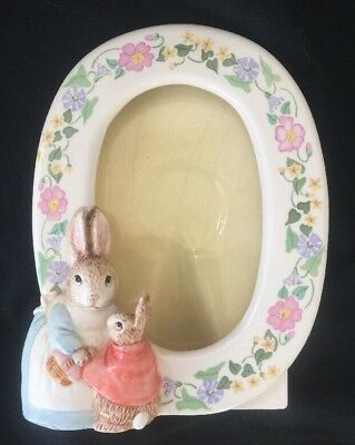 Schmit Beatrix Potter Peter Rabbit Schmid Ceramic Oval Photo Frame 1990 vintage