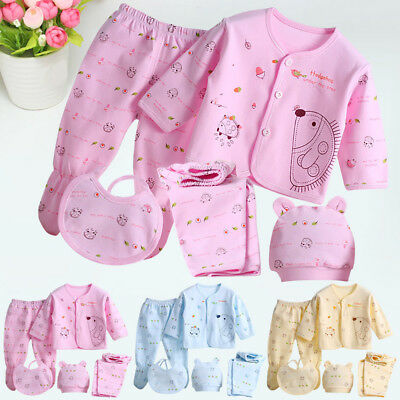 5pcs/Set Baby Newborn Boys Girls Organic Cotton Outfit Sets Unisex Clothes Suit