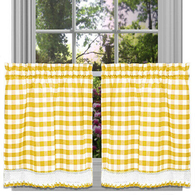 Buffalo Check Gingham Kitchen Curtain Tier Pairs Yellow 58x36 Inches