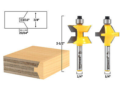 "Small 2 Bit Tongue and Groove Edge Banding Router Bit Set - 1/4"" Shank - Yonico"